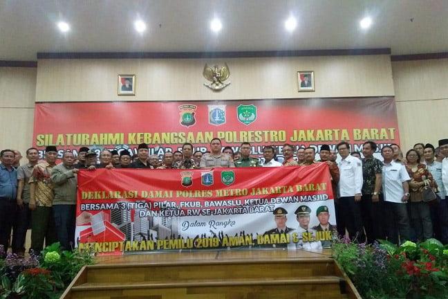 Silaturahmi Kebangsaan Tiga Pilar Jakarta Barat Deklarasi Pemilu Damai