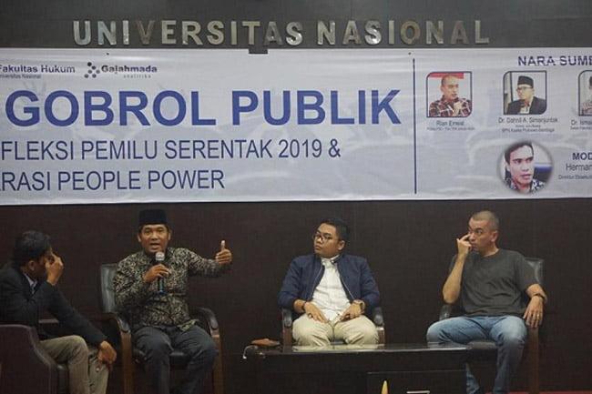 Universitas Nasional Gelar Diskusi Pemilu Serentak dan People Power