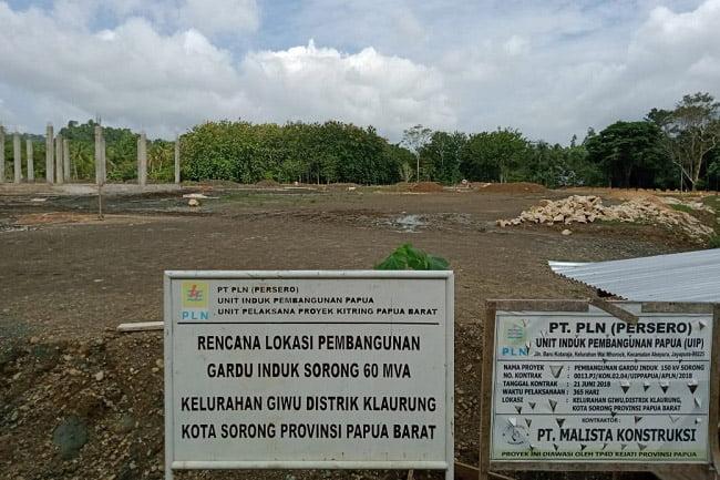 Pengerjaan Gardu Induk 60 MVA di Giwu Kota Sorong Mangkrak