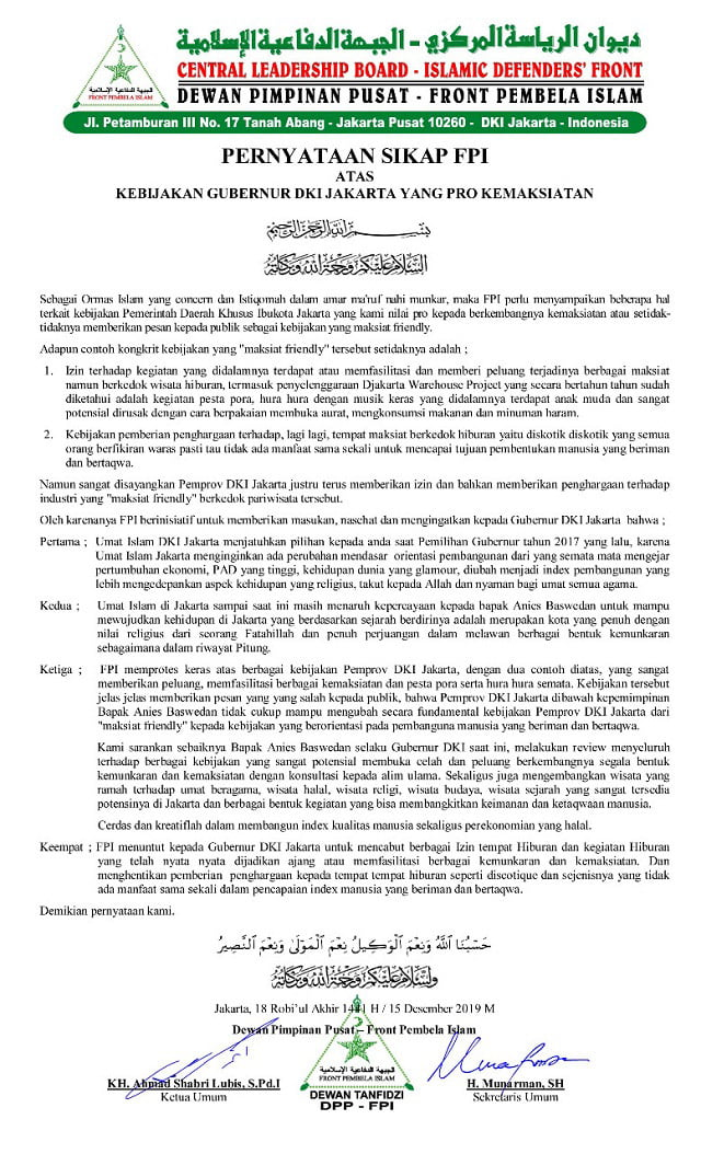 Pernyataan Sikap FPI terkait kebijakan Ramah Maksiat