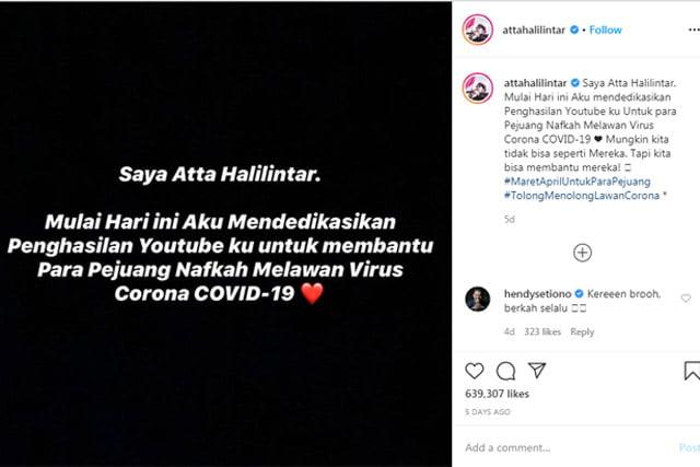 Atta Halilintar Donasikan Penghasilan Youtube Demi Lawan Corona