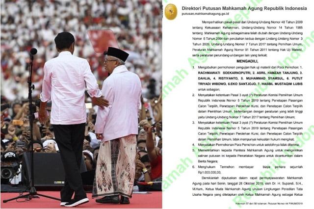Dasar Hukum Penetapan Kemenangan Jokowi di Pilpres 2019 Dibatalkan MA