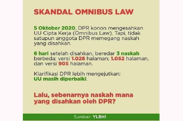 Politik Hukum (Omnibus Law), Tumbal Dan Sumber Kegaduhan. Ditulis oleh: Malika Dwi Ana