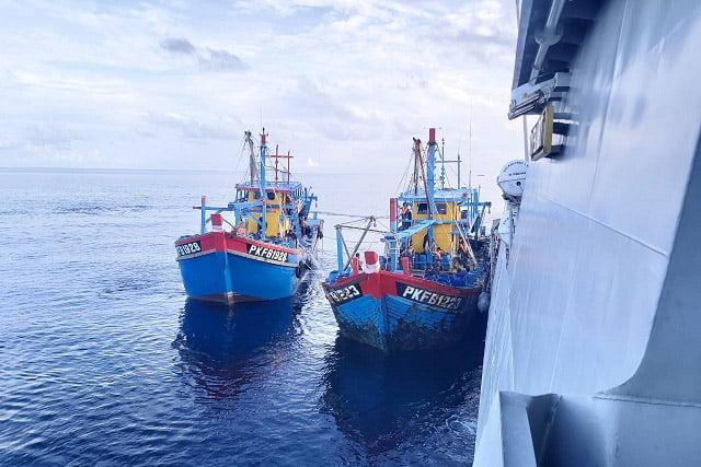 TNI AL Tangkap 3 Kapal Ikan Asing Diduga Illegal fishing di Selat Malaka