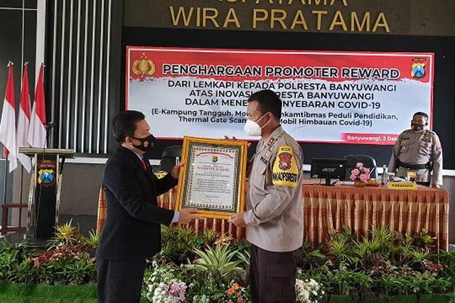 Polresta Banyuwangi Terima Penghargaan Promoter Reward