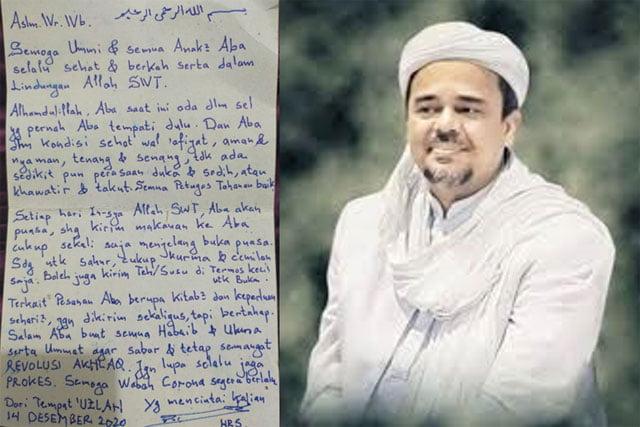 Dari Tahanan, Rizieq Shihab Tulis Surat Untuk Keluarganya