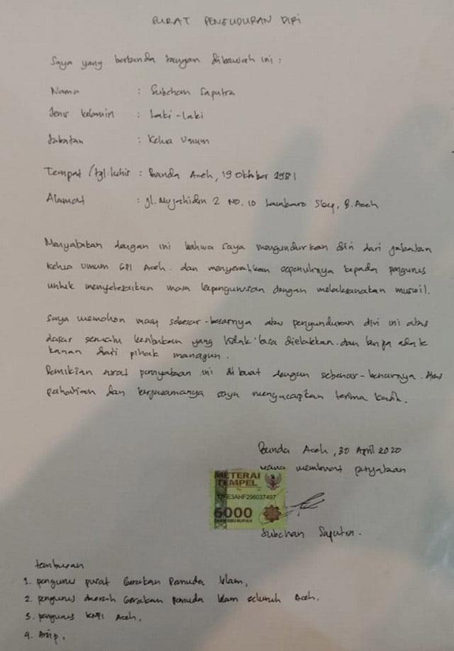 Diduga 100 Juta Dana Covid-19 Diembat, Sekjend PP GPI Minta Eks Ketua PW GPI Aceh Dilaporkan Polisi