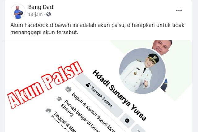 Digunakan Penipuan, Bupati Melawi Laporkan Akun Facebook Palsu ke Polisi